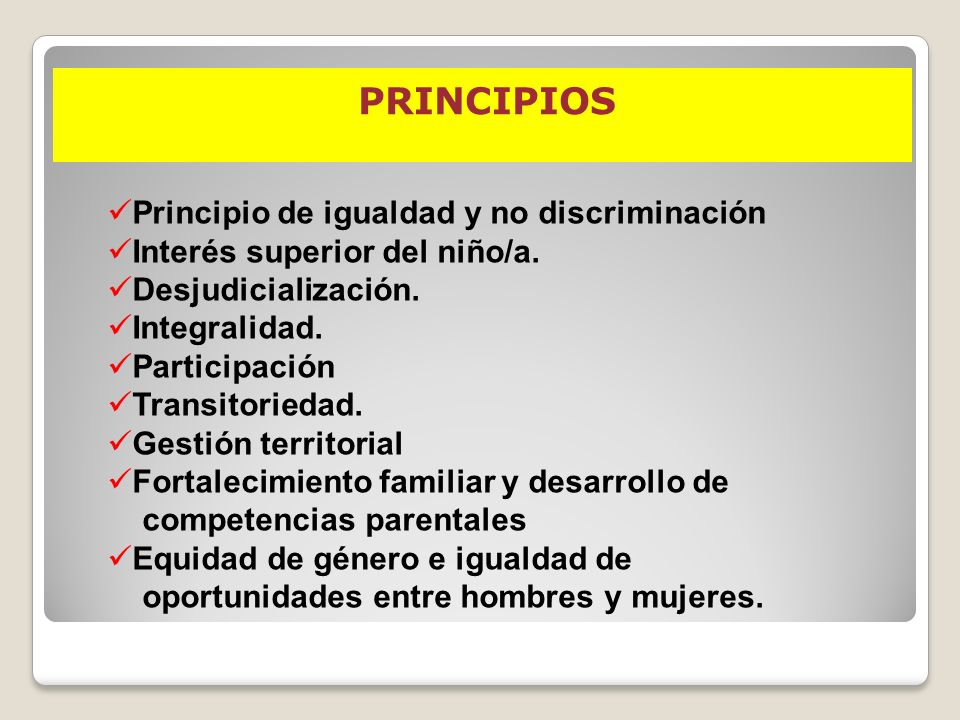 PRINCIPIOS Principio de igualdad y no discriminación