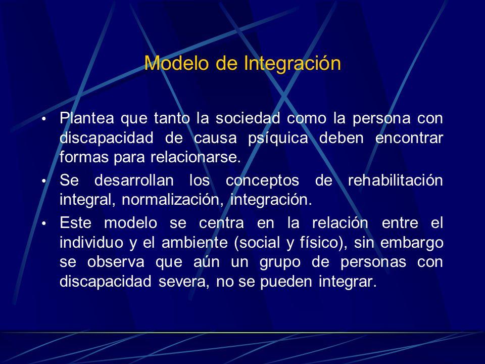 Modelo de Integración Plantea que tanto la sociedad como la persona con discapacidad de causa psíquica deben encontrar formas para relacionarse.
