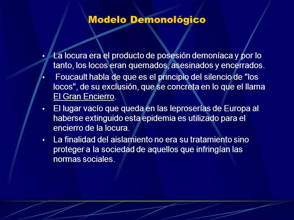 Modelo DemonológicoLa locura era el producto de posesión demoníaca y por lo tanto, los locos eran quemados, asesinados y encerrados.