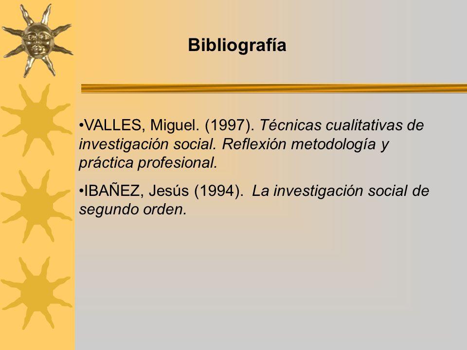Bibliografía VALLES, Miguel. (1997). Técnicas cualitativas de investigación social. Reflexión metodología y práctica profesional.