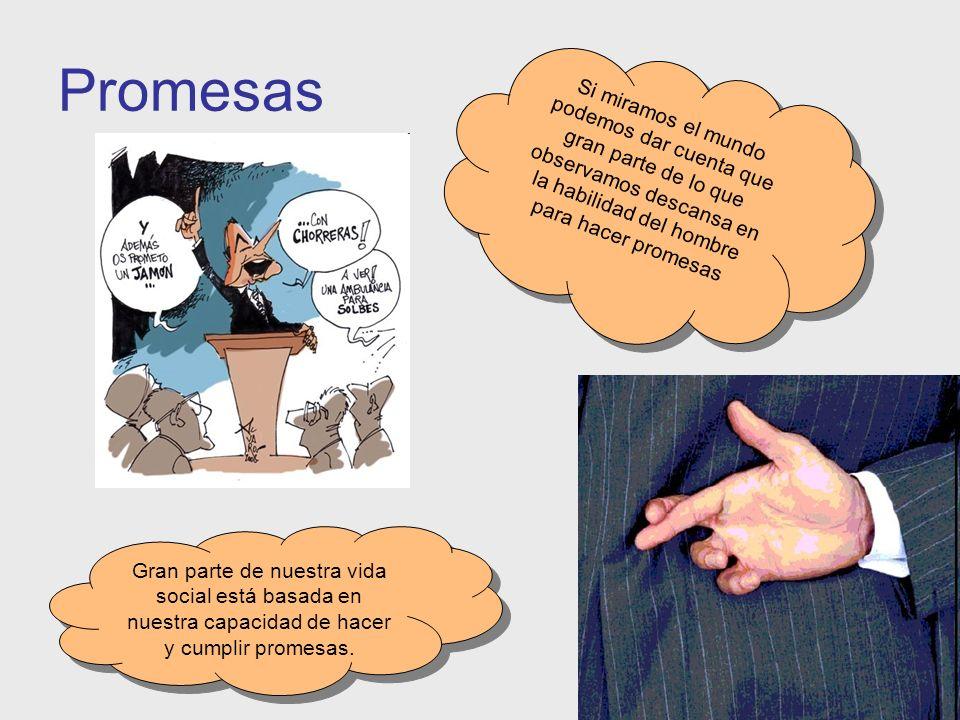 Promesas Si miramos el mundo podemos dar cuenta que gran parte de lo que observamos descansa en la habilidad del hombre para hacer promesas.