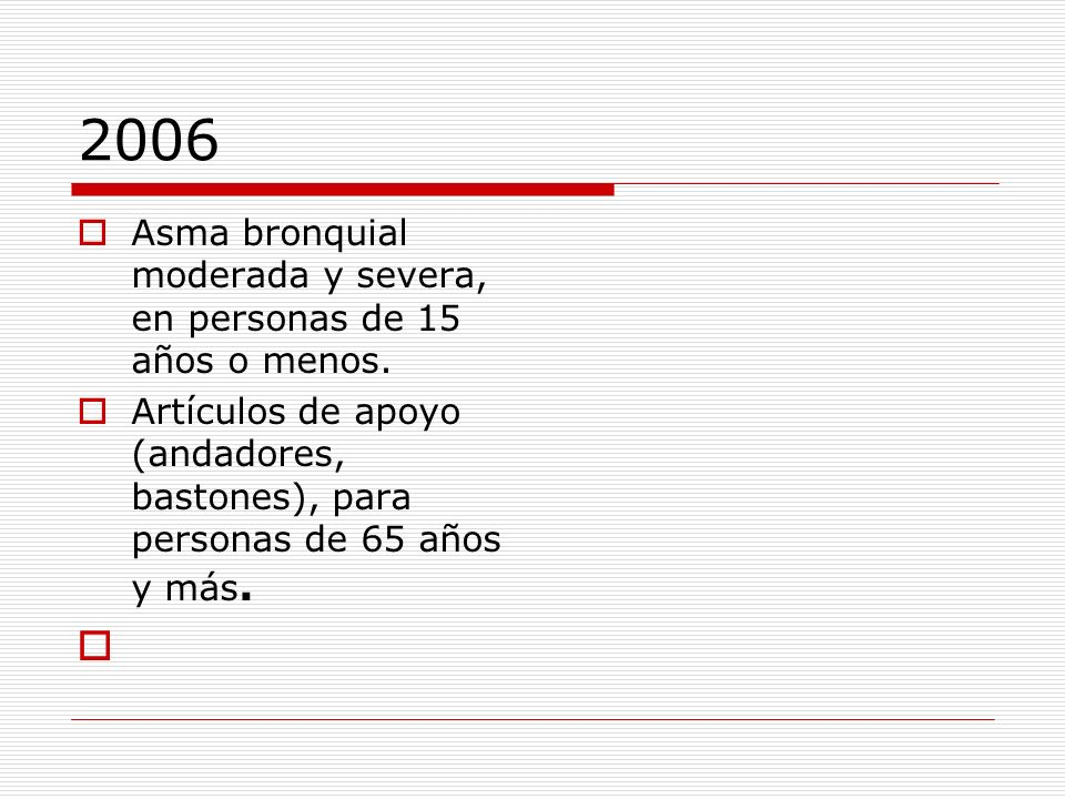 2006 Asma bronquial moderada y severa, en personas de 15 años o menos.