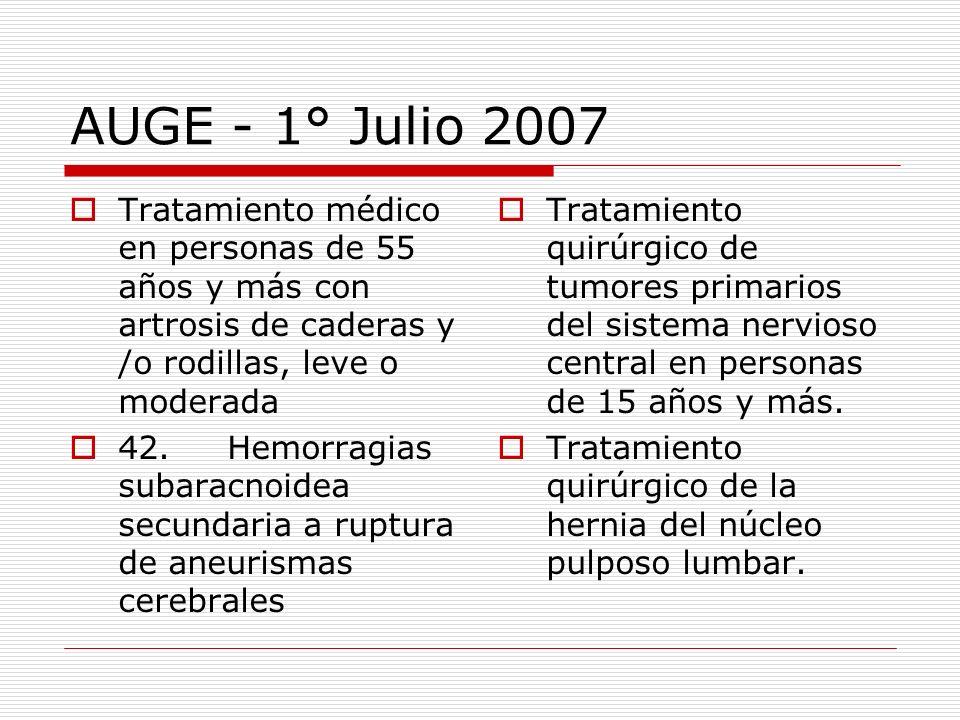 AUGE - 1° Julio 2007Tratamiento médico en personas de 55 años y más con artrosis de caderas y /o rodillas, leve o moderada.