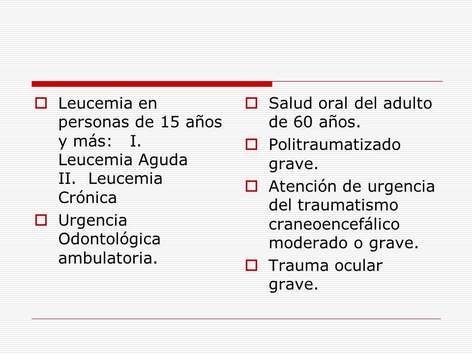 Leucemia en personas de 15 años y más: I. Leucemia Aguda II