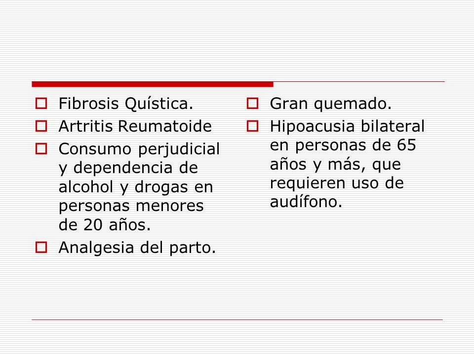 Fibrosis Quística. Artritis Reumatoide. Consumo perjudicial y dependencia de alcohol y drogas en personas menores de 20 años.