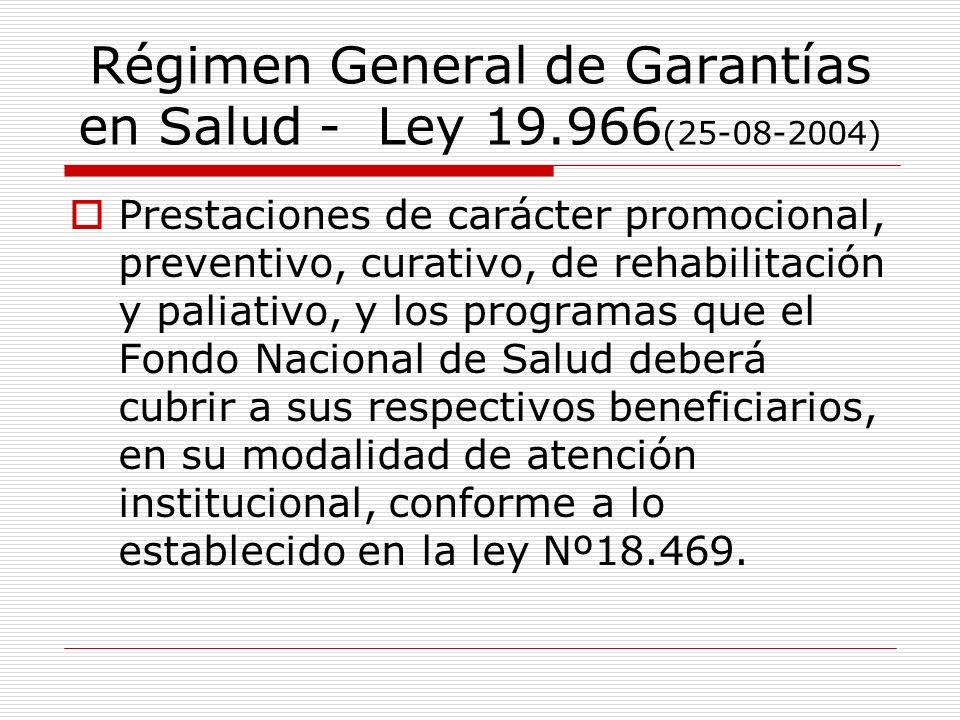 Régimen General de Garantías en Salud - Ley 19.966(25-08-2004)