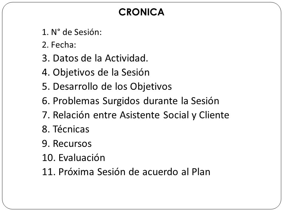 5. Desarrollo de los Objetivos 6. Problemas Surgidos durante la Sesión