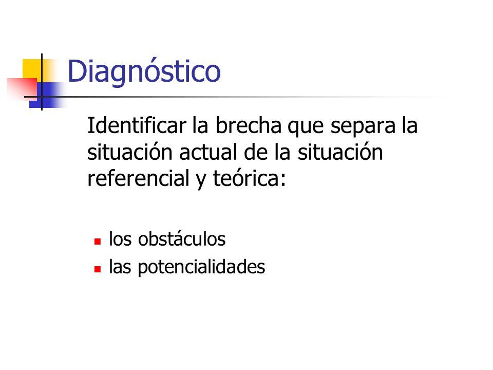 Diagnóstico Identificar la brecha que separa la situación actual de la situación referencial y teórica: