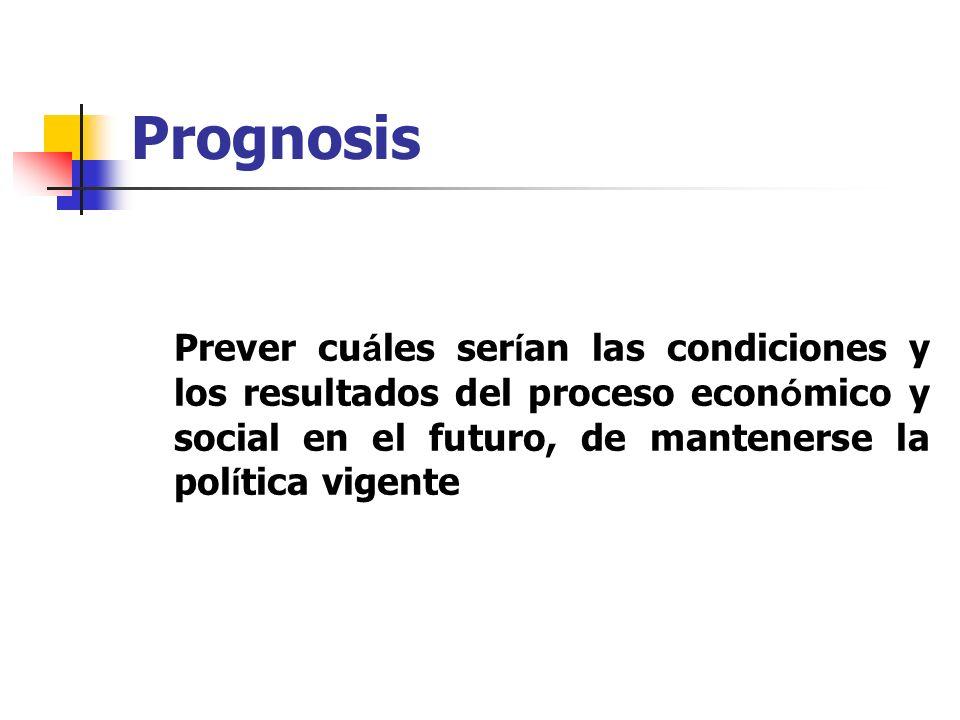 Prognosis Prever cuáles serían las condiciones y los resultados del proceso económico y social en el futuro, de mantenerse la política vigente.