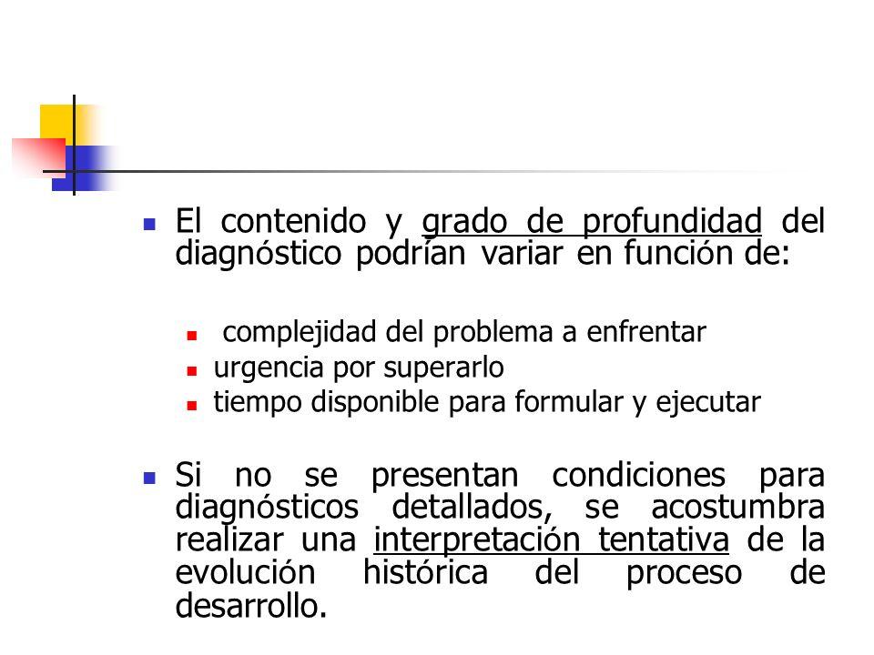 El contenido y grado de profundidad del diagnóstico podrían variar en función de: