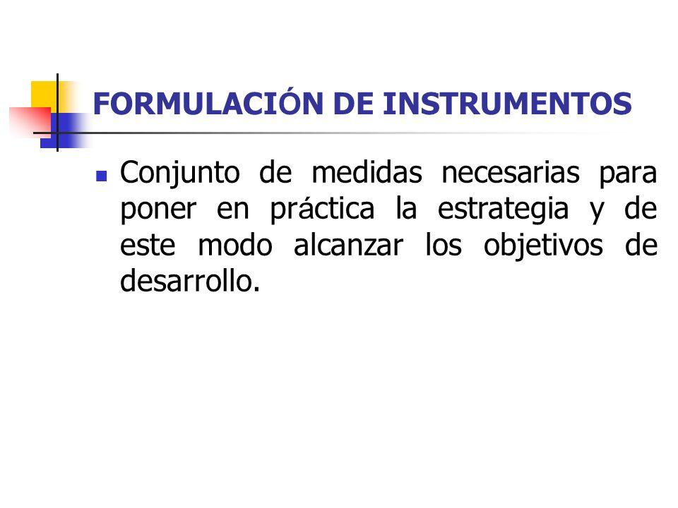 FORMULACIÓN DE INSTRUMENTOS