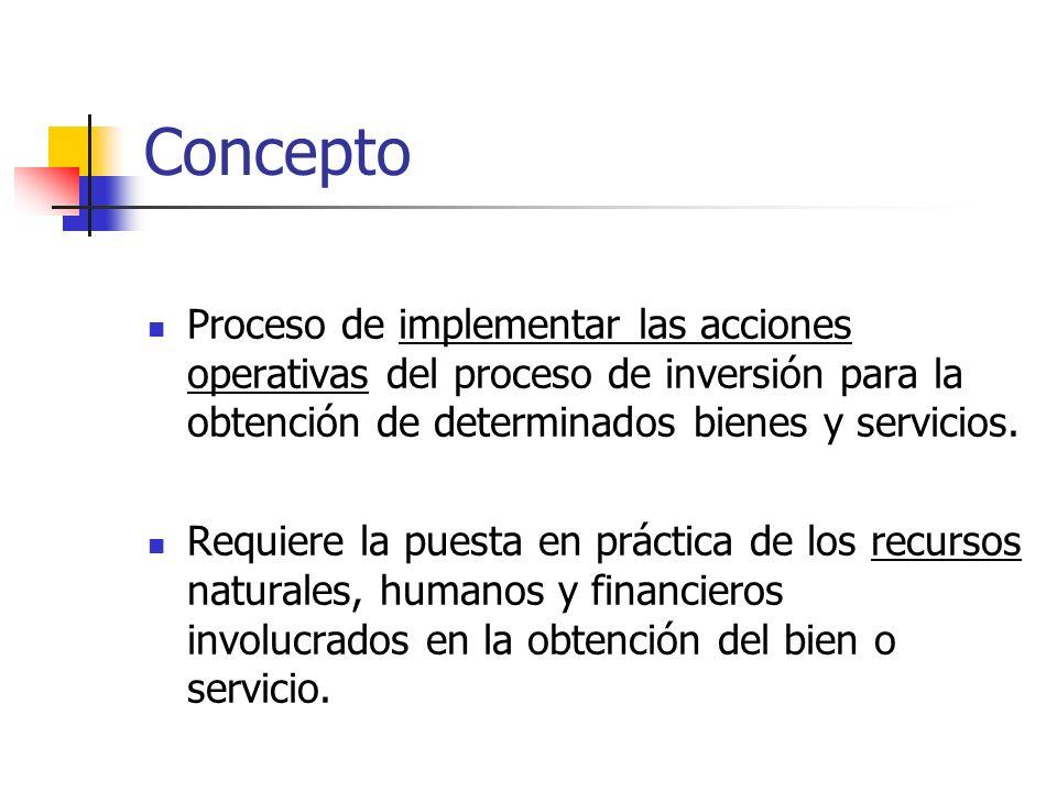 Concepto Proceso de implementar las acciones operativas del proceso de inversión para la obtención de determinados bienes y servicios.