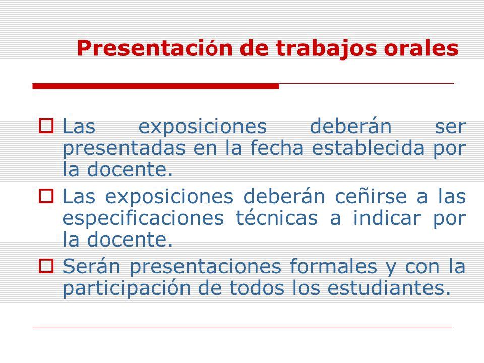 Presentación de trabajos orales