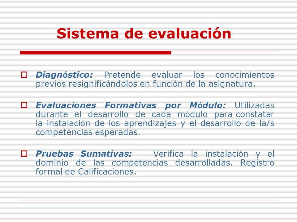 Sistema de evaluación Diagnóstico: Pretende evaluar los conocimientos previos resignificándolos en función de la asignatura.