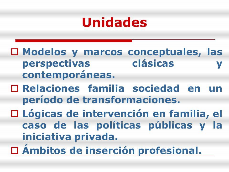 Unidades Modelos y marcos conceptuales, las perspectivas clásicas y contemporáneas. Relaciones familia sociedad en un período de transformaciones.
