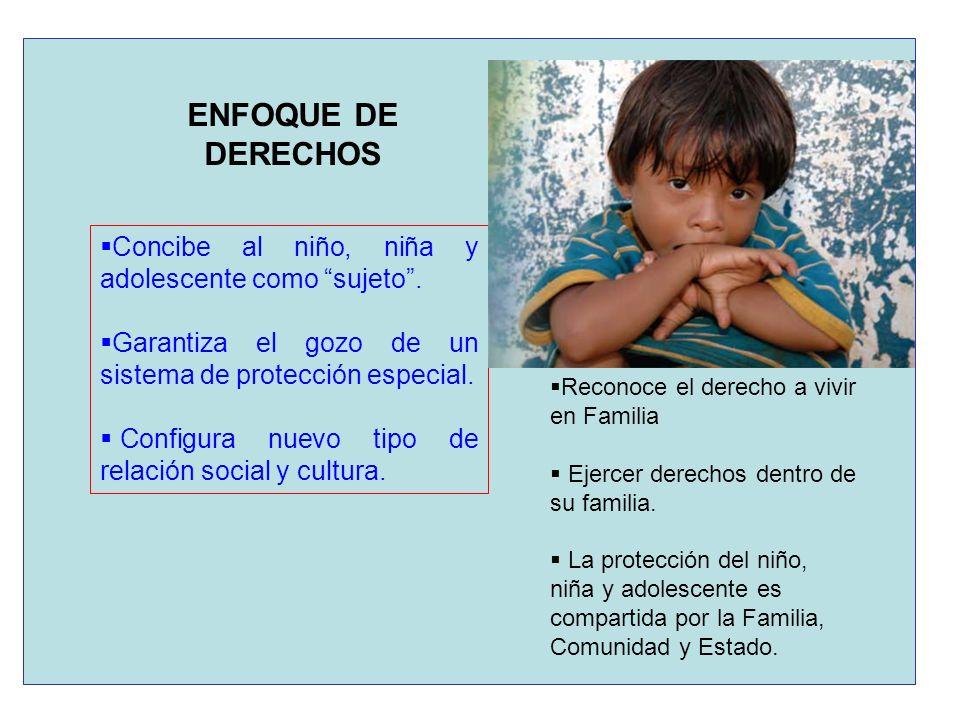ENFOQUE DE DERECHOS Concibe al niño, niña y adolescente como sujeto .