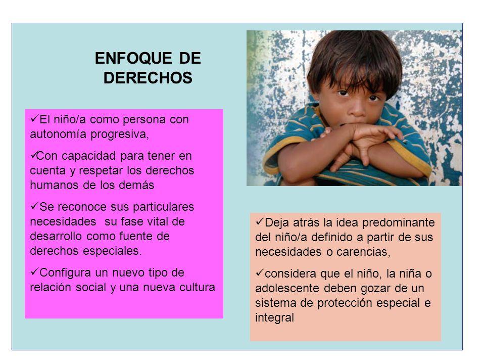 ENFOQUE DE DERECHOS El niño/a como persona con autonomía progresiva,