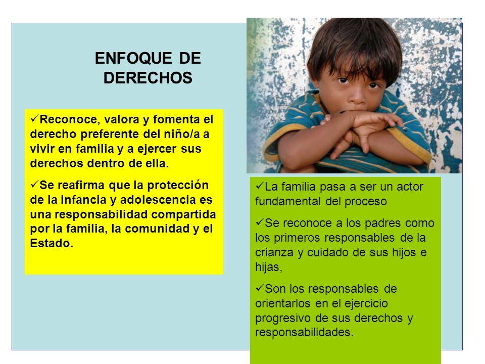 ENFOQUE DE DERECHOS Reconoce, valora y fomenta el derecho preferente del niño/a a vivir en familia y a ejercer sus derechos dentro de ella.