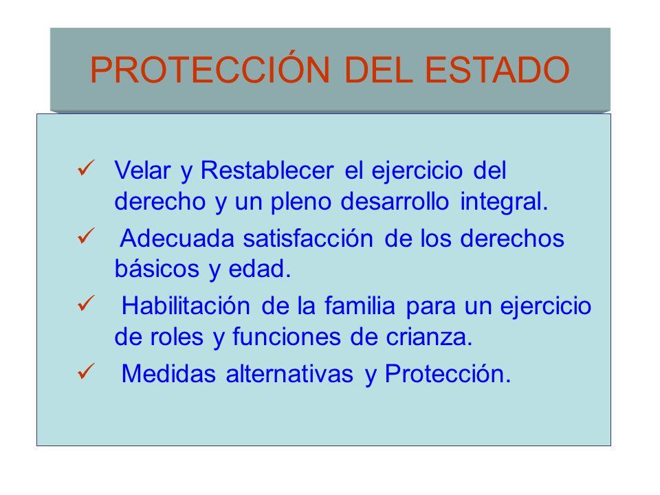 PROTECCIÓN DEL ESTADO Velar y Restablecer el ejercicio del derecho y un pleno desarrollo integral.