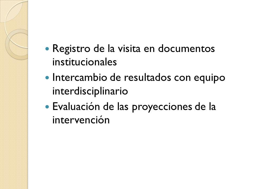 Registro de la visita en documentos institucionales