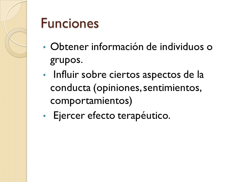 Funciones Obtener información de individuos o grupos.
