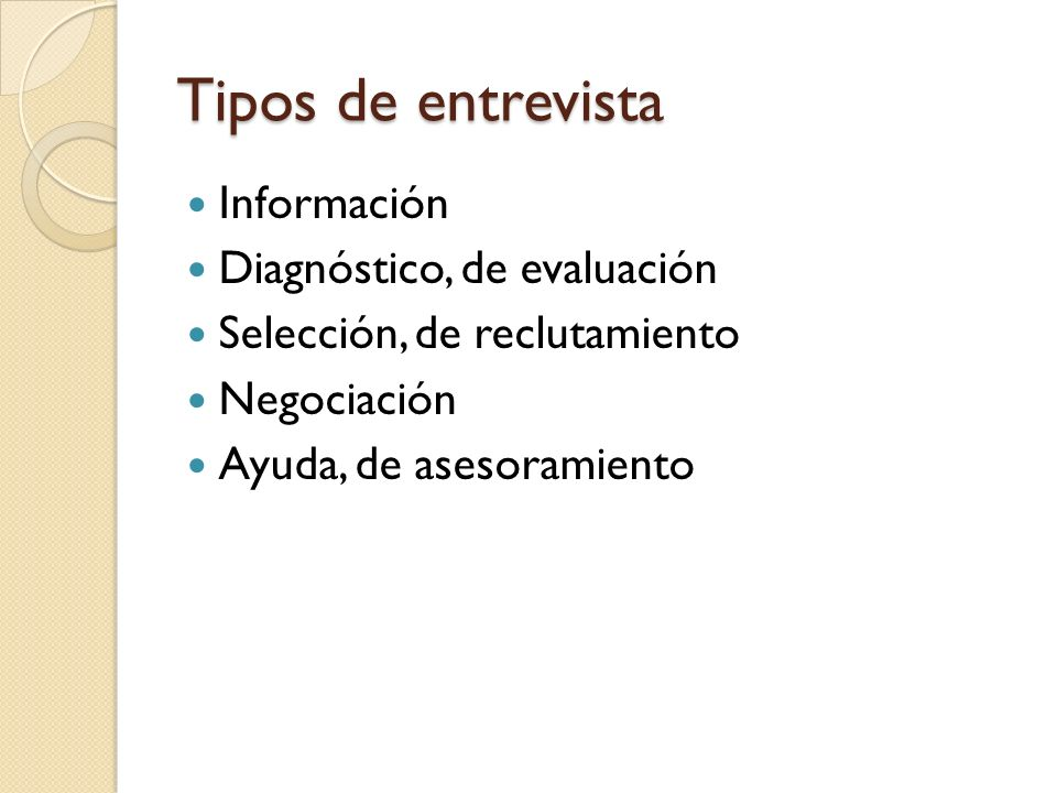 Tipos de entrevista Información Diagnóstico, de evaluación