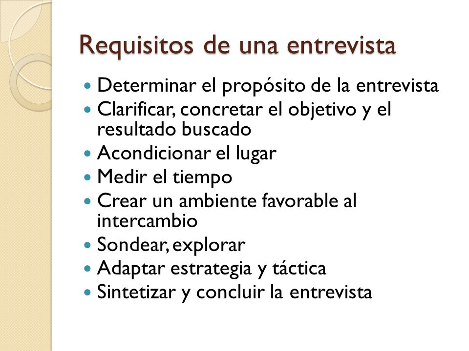 Requisitos de una entrevista