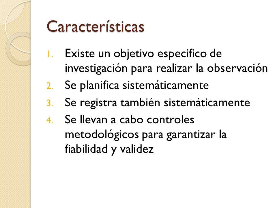 CaracterísticasExiste un objetivo especifico de investigación para realizar la observación. Se planifica sistemáticamente.