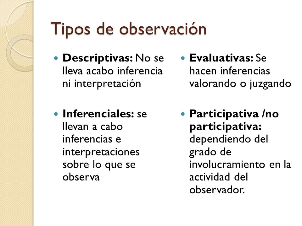 Tipos de observación Descriptivas: No se lleva acabo inferencia ni interpretación.