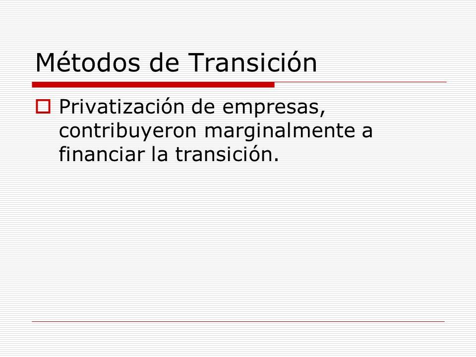 Métodos de TransiciónPrivatización de empresas, contribuyeron marginalmente a financiar la transición.