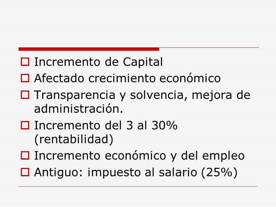 Incremento de CapitalAfectado crecimiento económico. Transparencia y solvencia, mejora de administración.