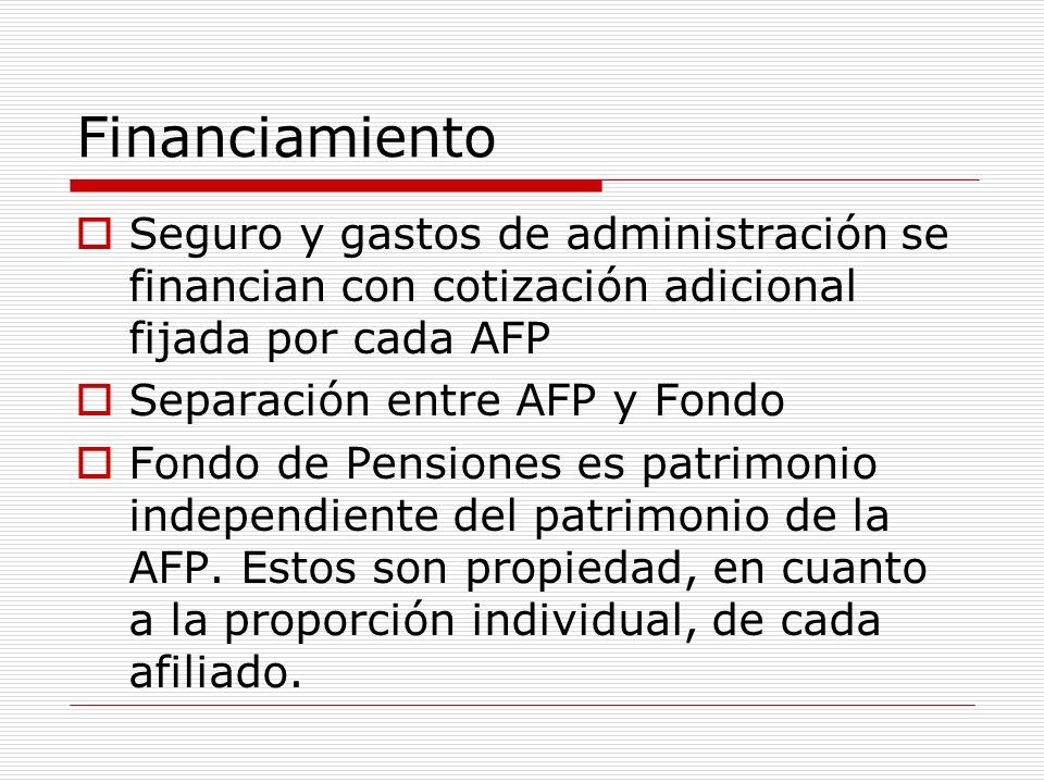 FinanciamientoSeguro y gastos de administración se financian con cotización adicional fijada por cada AFP.