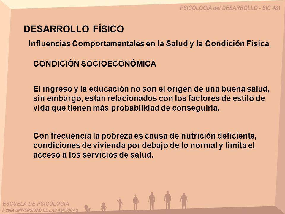 DESARROLLO FÍSICO Influencias Comportamentales en la Salud y la Condición Física. CONDICIÓN SOCIOECONÓMICA.