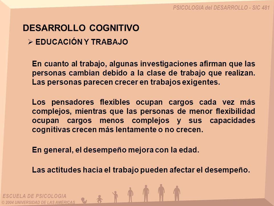 DESARROLLO COGNITIVO EDUCACIÓN Y TRABAJO