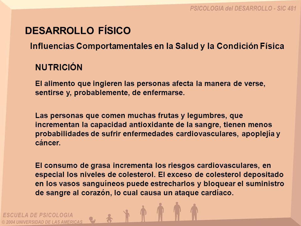 DESARROLLO FÍSICO Influencias Comportamentales en la Salud y la Condición Física. NUTRICIÓN.