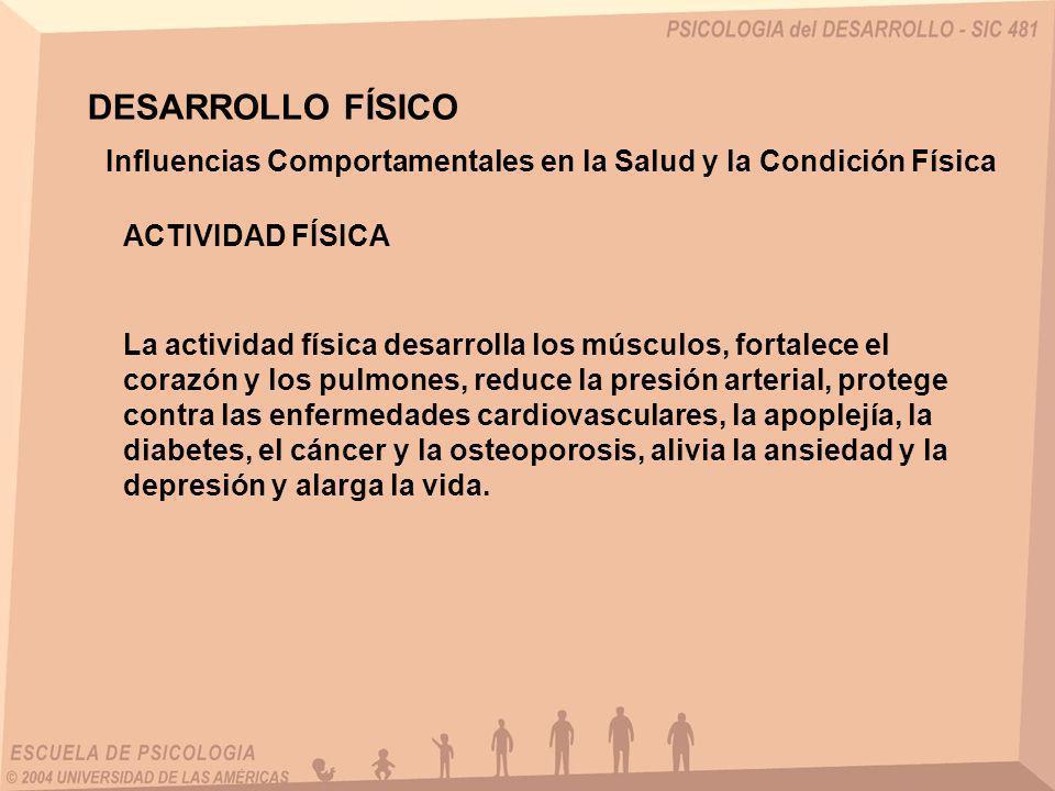DESARROLLO FÍSICO Influencias Comportamentales en la Salud y la Condición Física. ACTIVIDAD FÍSICA.