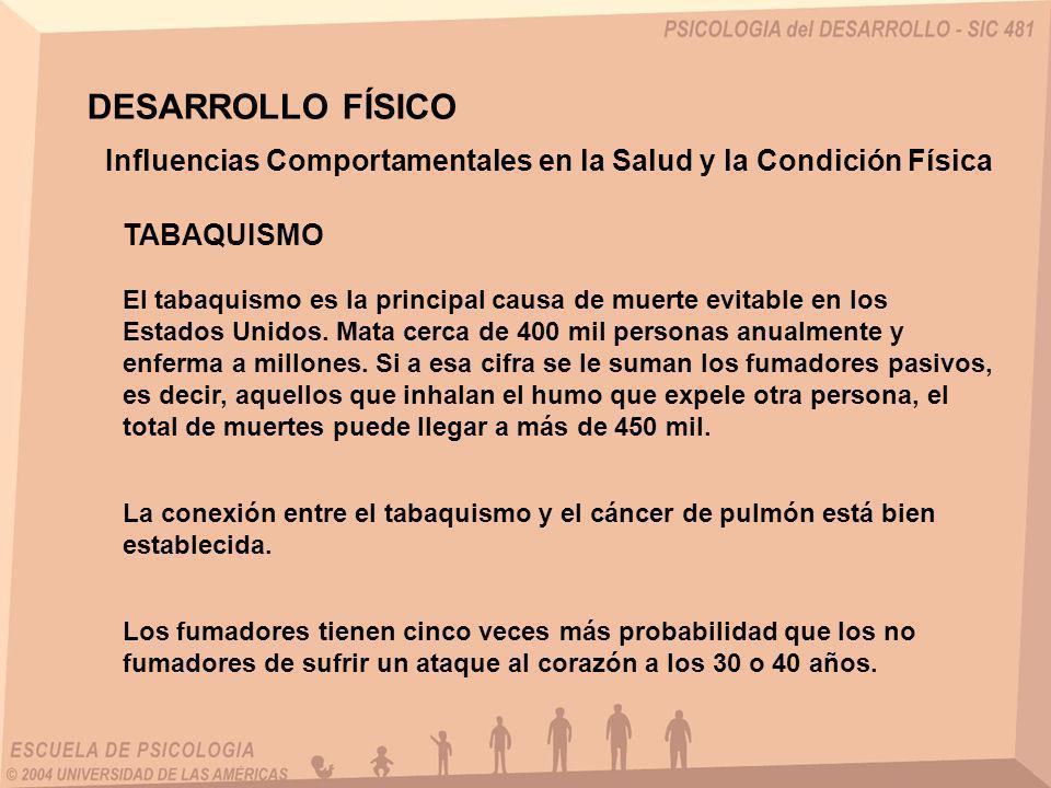 DESARROLLO FÍSICO Influencias Comportamentales en la Salud y la Condición Física. TABAQUISMO.