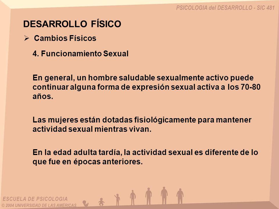 DESARROLLO FÍSICO Cambios Físicos 4. Funcionamiento Sexual