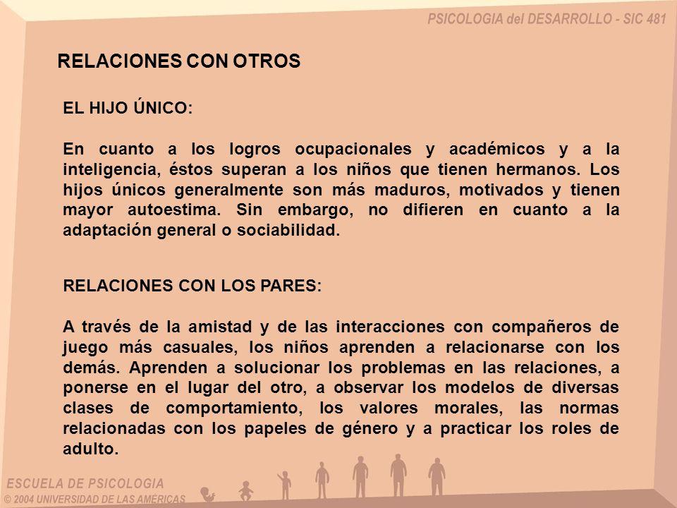 RELACIONES CON OTROS EL HIJO ÚNICO: