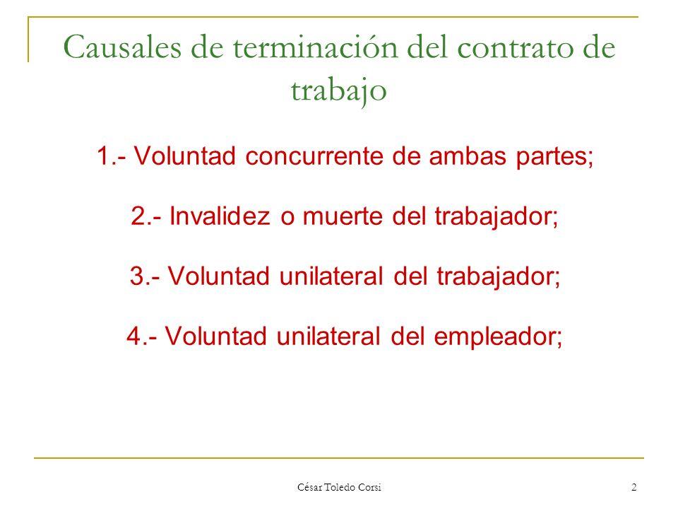 Causales de terminación del contrato de trabajo
