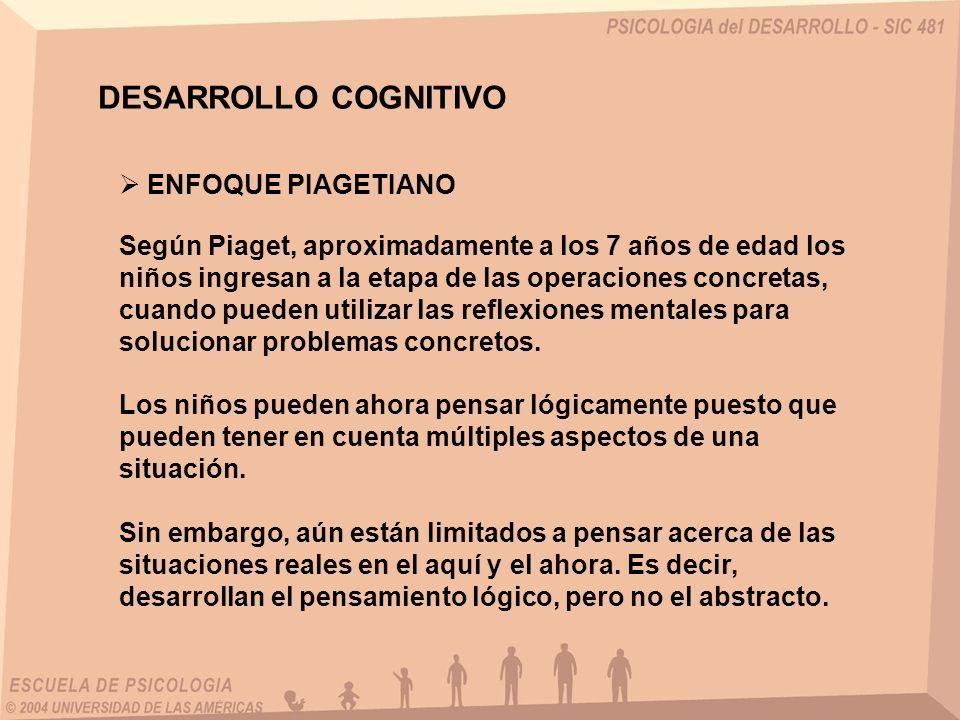 DESARROLLO COGNITIVO ENFOQUE PIAGETIANO