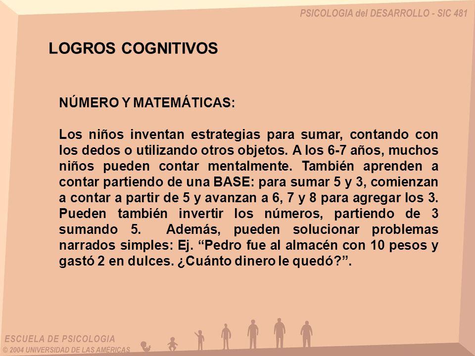 LOGROS COGNITIVOS NÚMERO Y MATEMÁTICAS: