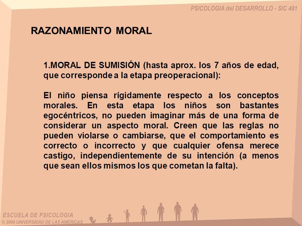 RAZONAMIENTO MORAL MORAL DE SUMISIÓN (hasta aprox. los 7 años de edad, que corresponde a la etapa preoperacional):