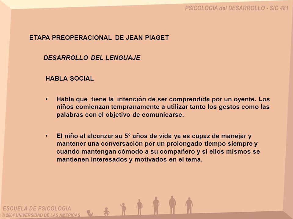 ETAPA PREOPERACIONAL DE JEAN PIAGET
