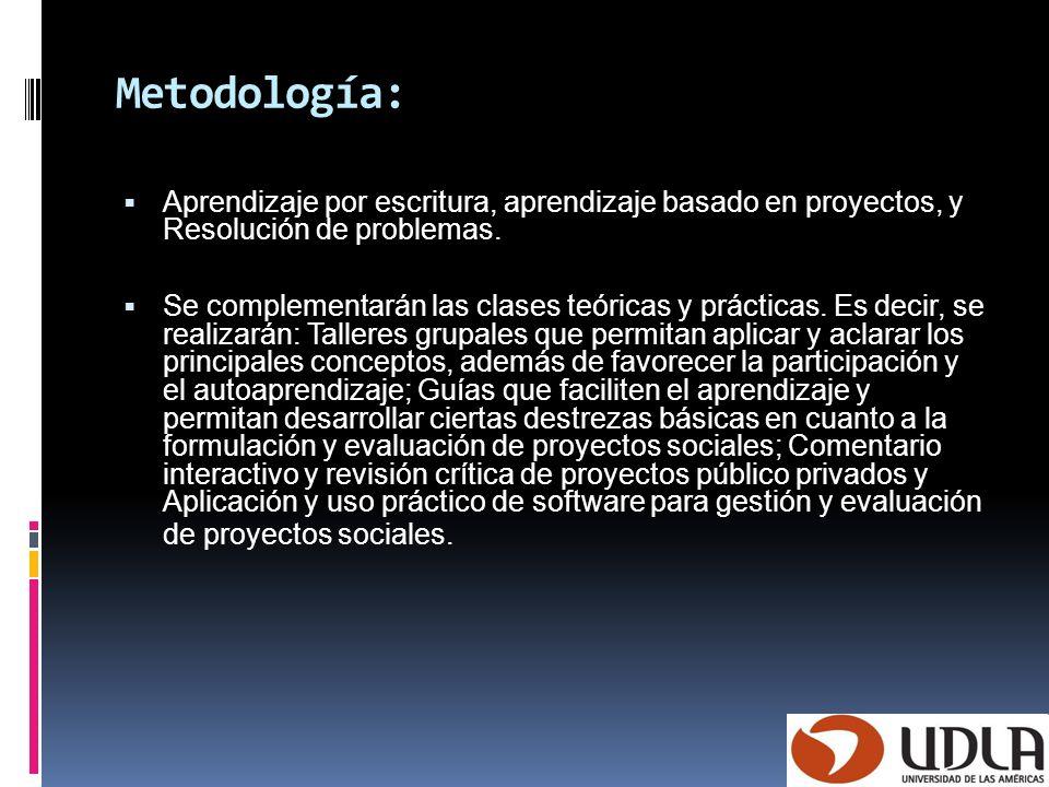 Metodología:Aprendizaje por escritura, aprendizaje basado en proyectos, y Resolución de problemas.