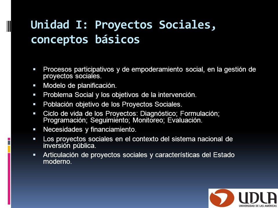 Unidad I: Proyectos Sociales, conceptos básicos