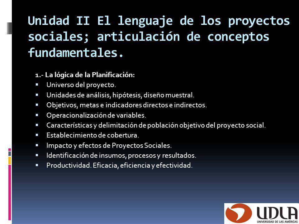 Unidad II El lenguaje de los proyectos sociales; articulación de conceptos fundamentales.