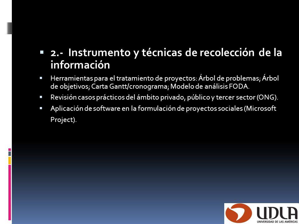 2.- Instrumento y técnicas de recolección de la información