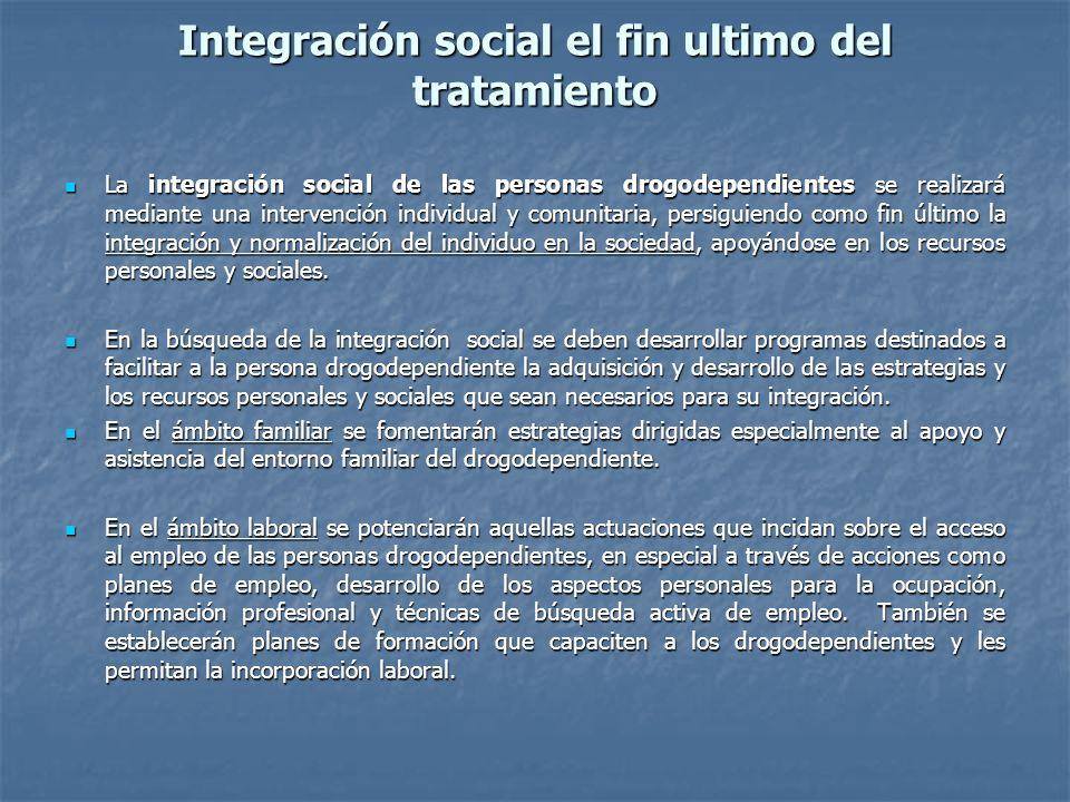 Integración social el fin ultimo del tratamiento