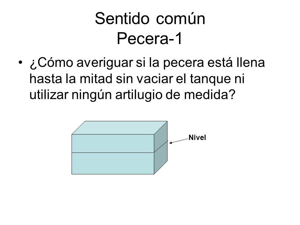 Sentido común Pecera-1 ¿Cómo averiguar si la pecera está llena hasta la mitad sin vaciar el tanque ni utilizar ningún artilugio de medida